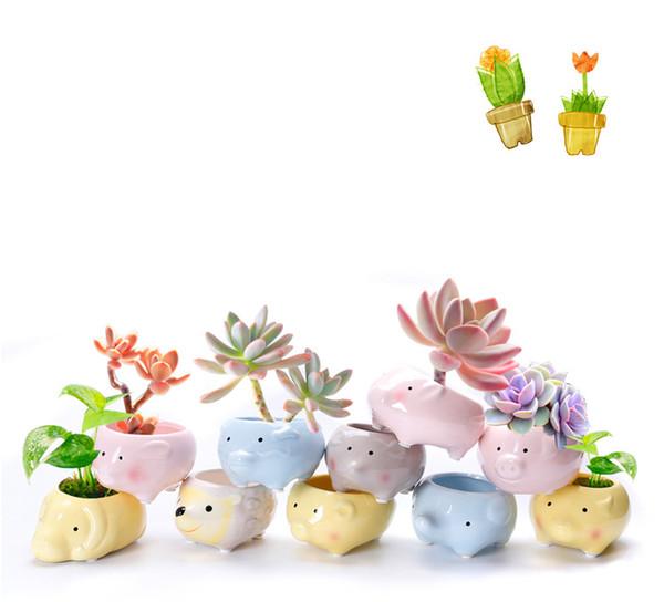 120pcs flower pot planter Animal Shape Case Planter Ceramic Plant Pot Succulent Flower Outdoor Indoor for home decor