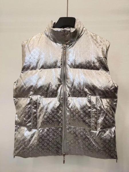 Nouveau Arrivée Hommes en cuir de luxe Gilet manteaux en duvet Glaze Argent Vêtements d'extérieur Vestes coupe-vent de luxe Chemisier Reflective bateau libre B103552L