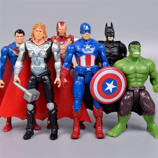 Avengers Aksiyon Figürleri Süper Kahraman Oyuncak Bebek Hulk Kaptan Demir Adam Doğum Günü Hediyesi 6 adet Set 16 5qs F1