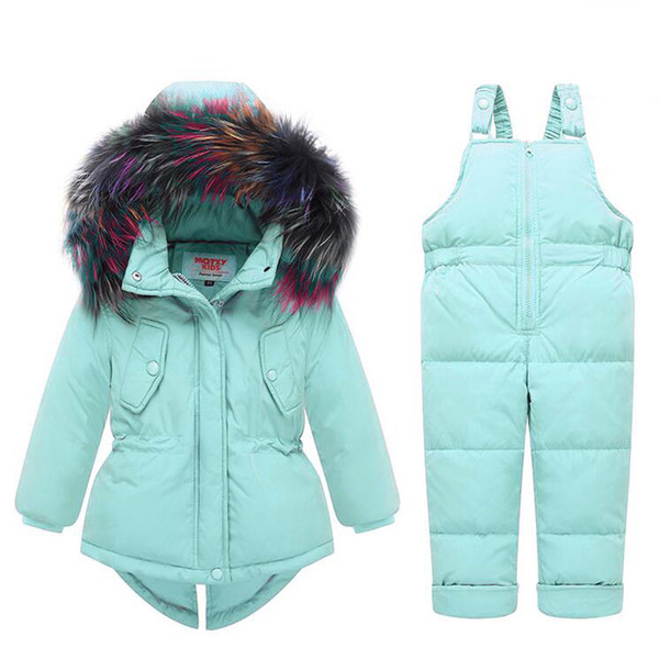 Baby Kids Girl Clothing Sets -25 Degree Russia Winter Colored Fur Hooded Coat + Overall Jumpsuit Snow Children Suit