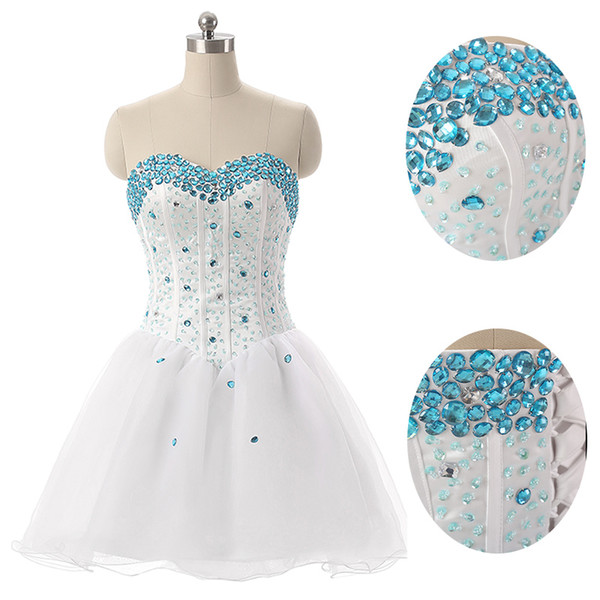 top popular Cheap Short White Tulle Sweetheart with Beads Homecoming Party Dresses With Beads Prom Dresses Custom Made SD094 2019