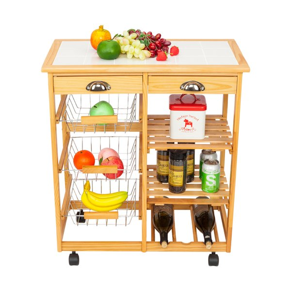 2019 2 Drawer Removable Rolling Kitchen Trolley Cart Storage Drawer Basket  Wine Rack Durable Wood Color From Dhtopmall, $64.33 | DHgate.Com