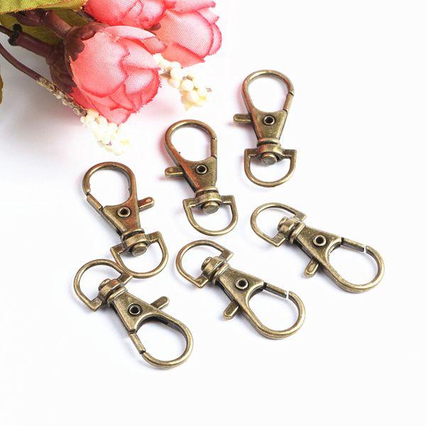 50 teile / los Bronze Metall Swivel Karabinerverschluss Clips Schlüsselhaken Schlüsselbund Split Schlüsselring Erkenntnisse Verschlüsse Für Schlüsselanhänger Machen 36 MM