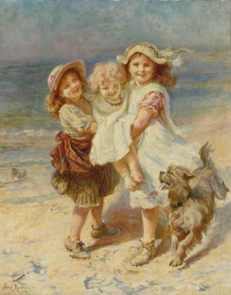 Frederick Morgan ON THE BEACH Home Wall Art Decor Handcrafts /HD Print Oil painting On canvas Wall Art Canvas Pictures 190903