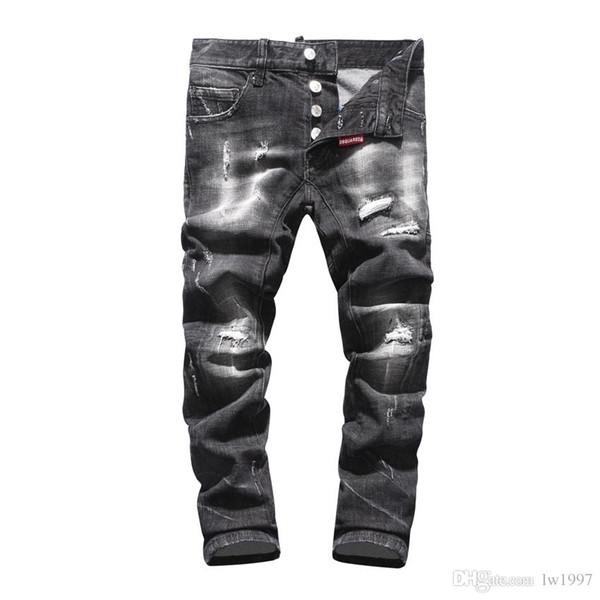 2019 SS хип-хоп Мужская одежда светло-голубая дыра джинсы дыра мода джинсовые мужские украшения дыра джинсы мужские брюки DN42