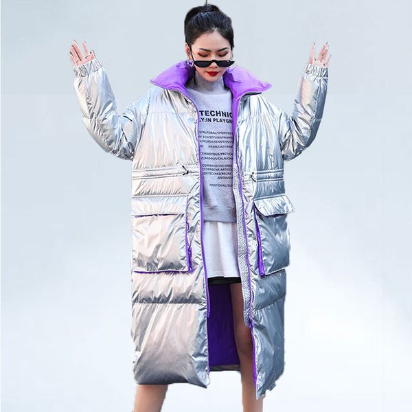 2019 Prata Brilhante Mulheres Jaqueta de Pato Para Baixo Casaco de Inverno Moda Longo Para Baixo Mulheres Jaqueta Grosso Quente Plus Size Casacos Parka Streetwear