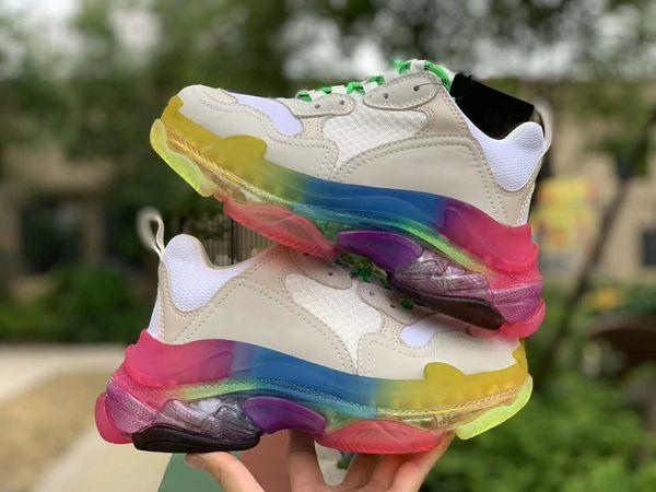 Triple S Rainbow Sneaker Mens Designer Casual Shoes Women White Triple S Sneaker Low Top Lace-Up Platform shoes Retro Triple S Sneaker