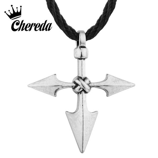 Ciondolo d'argento Chereda Grande Jewelry guerriero vichingo Spear Croce d'antiquariato di Uomini Freccia Chic Collane