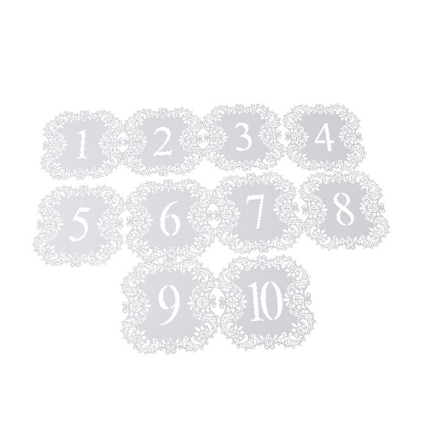 10PCs/Pack Ivory Hollow Lace Table Number Table Cards Flower Cutting Rustic Wedding Centerpieces Vintage Wedding Decoration