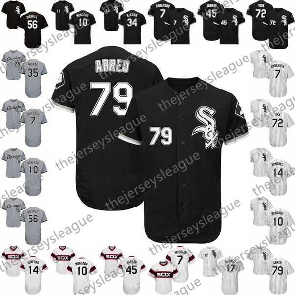 Custom Chicago Sox Gray Black Stitched Baseball Jersey 2019 White #5 Yolmer Sanchez 7 Tim Anderson 10 Yoan Moncada 79 Jose Abreu