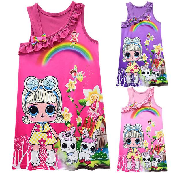 Baby girls doll Vest dress children Oblique Shoulder suspender princess dresses cartoon 2019 fashion Boutique kids Clothing 6 colors C6406