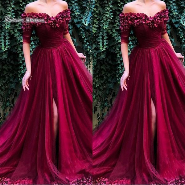 2019 Off Shoulder Front Split Tulle Prom Dresses Short Sleeves High End Quality Evening Party Dress Hot Sales