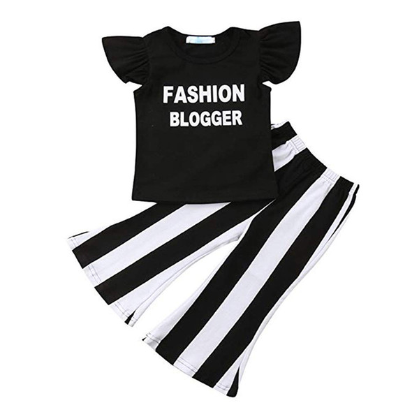 Baby Girl Clothes Black Ruffle Short Sleeve Fashion Blogger Letter Shirt Tops Black and White Stripe Bell Bottom Pants Set T-shirt Outfits