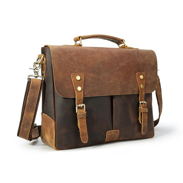 Executive Cowhide Laptop Messenger Bag Full Grain Leather Briefcase Man High Quality Low Factory Price Men Bags LX1462