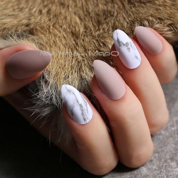 Acheter Nu Matte Ongles Texture Marbre Ongles Faux Ongles Personnalisés  Rose Talon Aiguille Bricolage Faux Ongles Rouge Moyen Jazz Blanc Marbre  Noir
