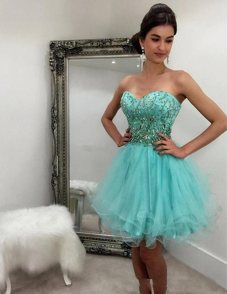 New Hot Cheap Short Mini Homecoming Dresses Sweetheart Beads Crystal Sleeveless Tulle Plus Size Party Graduation Dresses Cocktail Gowns