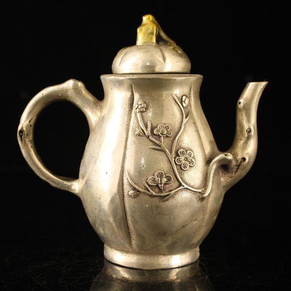 Reines Kupfer, reines handgemachtes Gold, Silberende, Pflaumentopf, Weintopf, Ornamente, Kunstsammlung
