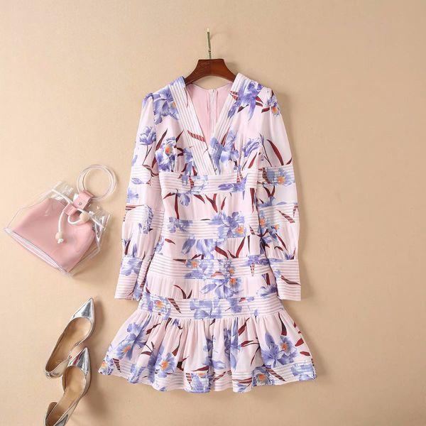 Free shipping Milan Runway Dress 2019 Spring Summer V Neck Long Sleeve Print Designer Dress Brand Same Style Dress 122708