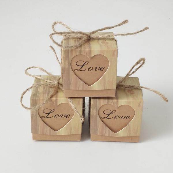 Retro Wedding Sugar Bag Kraft Paper DIY Candy Box Carton Packaging Snack Box Wedding Favor Party Supplies