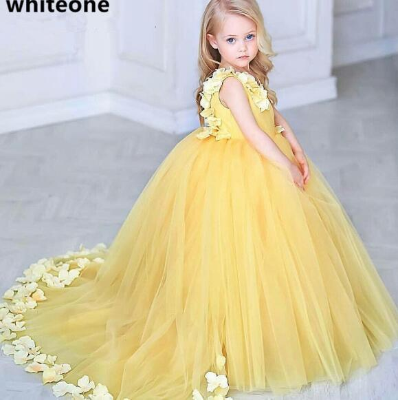New Arabic Flower Girl Dresses For Weddings Ball Gown Sleeveless Kids yellow Evening Gown Birthday Girl Communion Pageant Gown
