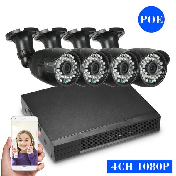 4CH 1080P WiFi NVR Kit + Audio Record CCTV System 4pcs IP Camera IR WiFi Cameras Surveillance Set PC & Phone Remote Control