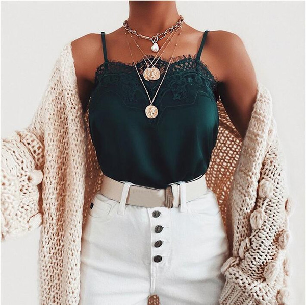 top popular Sexy Fashion Womens camisole Vest Camis Tanks Camis Summer Ladies Silk Gallus Tanks & Camis Leisure Lace Size S-XXL 2021