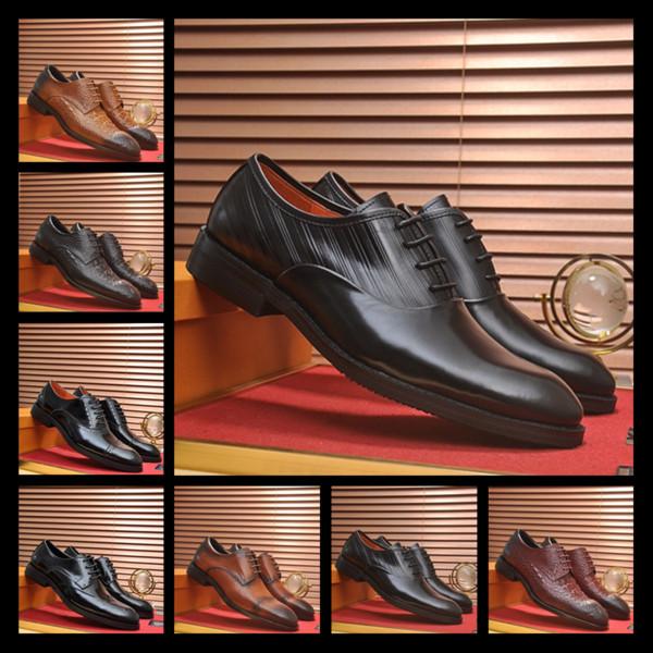 25ss Recién llegado de Italia Top de cuero de lujo de los hombres zapatos para hombre zapatos de vestir Oxford Wear Well Gray Red Men Size 38-45 con caja