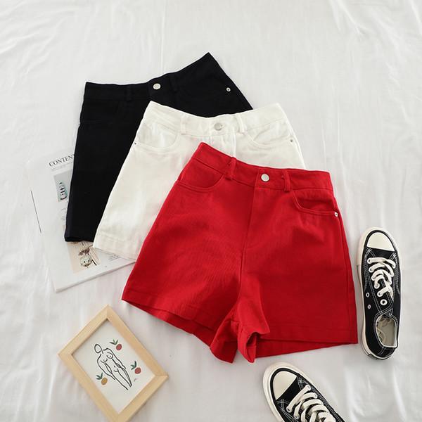 2019 nova moda feminina calções retro cintura alta magro slim reta bolso duplo simples maré denim shorts H691