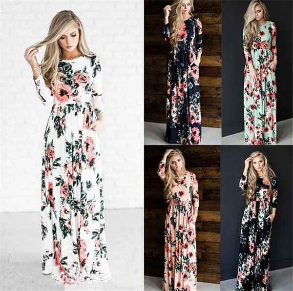 Mode Robes D'été Femmes Floral Imprimé Court À Manches Longues Boho Dress Robe De Soirée De Soirée Longue Maxi Jupon Vêtements Pour Femmes Taille S-3XL