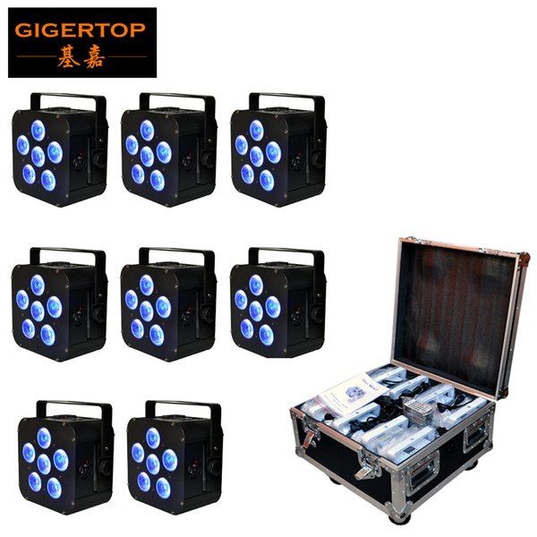 8IN1 Charging Flightcase Packing 6x18W 6in1 RGBAW UV Battery Power Wireless LED Par Light,LED Slim Par Can Event,Disco Party