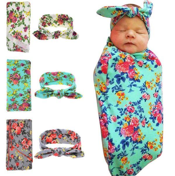 Новорожденное Фото Опоры для младенцев Одеяла печатных новорожденных младенцев Мальчиков Девочка Спящие Пеленального Муслин Wrap + оголовье Набора 13 стилей