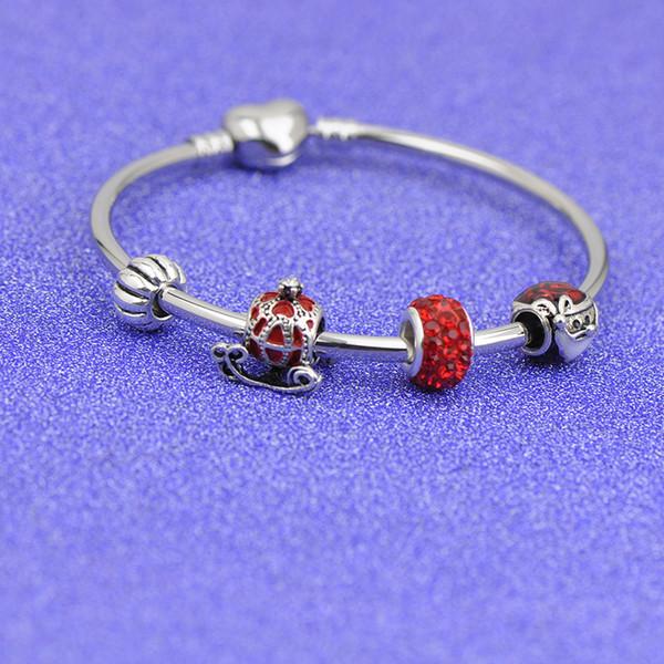 Christmas Stainless Steel s Bracelets Fit Pandora Women Girl Boy Red Glass Beads Silver Bangle Jewelry Friendship gift Kids pulseras P127
