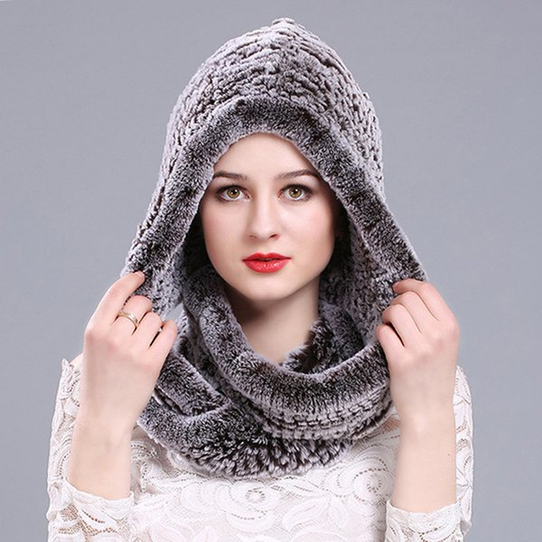 Women 2018 Real Rex Rabbit Fur Hat Hooded Scarf Winter Warm Natural Fur Hat With Neck Scarves Rex Rabbit Knitted Cap and