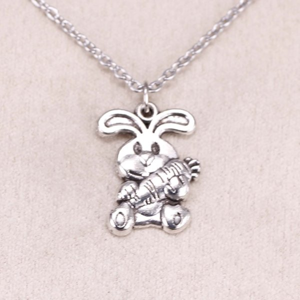 New Fashion Tibetan Silver Pendant rabbit bunny carrot easter 21*15mm Choker Charm Short Long DIY Necklace Factory Price Handmade Jewelry