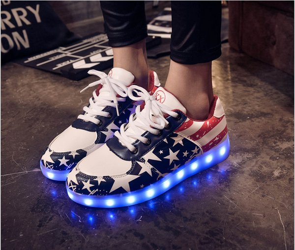 Size 30-46 Glowing Sneakers For Kids And Adults Usb Charging Light Up Shoes For Boys Girls Men Women Led Causal Shoes Y19062001
