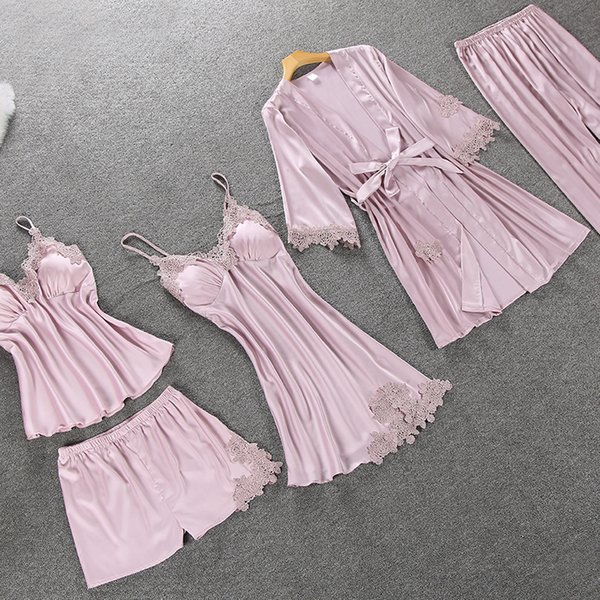 2018 Autumn Satin Pajamas Set for Women Elegant 5PCS Sleepwear Brand Female Sexy Lingerie Lace Top Silk Pajamas Set pyjama femme T190917