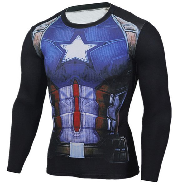 Avengers 4 Superman Punisher Rashgard Running Shirt Men T-shirt Long Sleeve Compression Shirts Gym T-shirt Fitness Sport Shirt Men