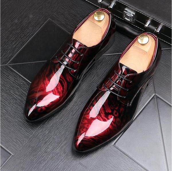 Мужская лакированная кожа мужская обувь небольшой острым бизнес платье обувь свадебные туфли Англия яркая личность 37-44