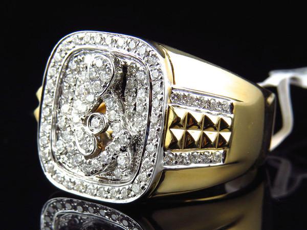 14k Yellow Gold Mens XL Round Diamond Masonic Logo Fashion Pinky Ring (1.15 Ct)