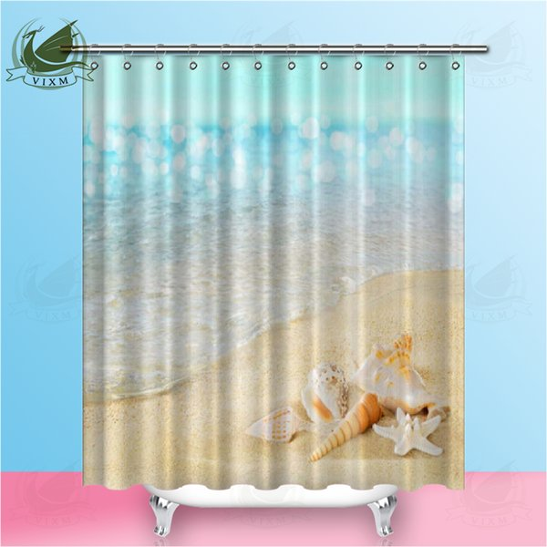 High Quality Beach Shell Printing Shower Curtain Waterproof Products Bathroom With Hook Polyester Fabric Home Decoration Curtain