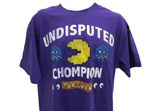 Pacman Undisputed Chompion Ghosts Classic Retro Vintage Video Game T Shirt Large Funny free shipping Tshirt top