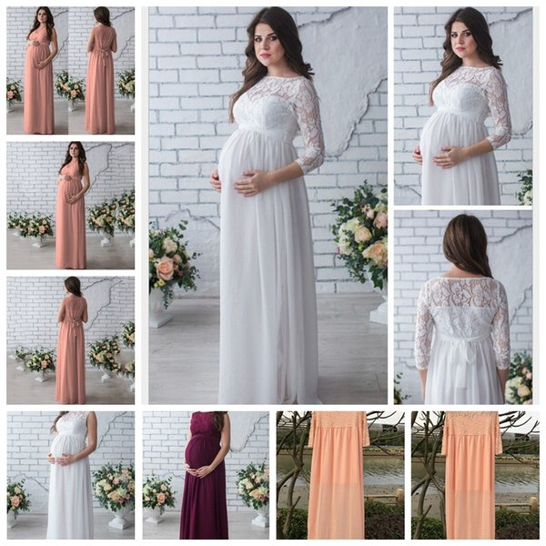 2019 European spring and summer hot solid color sexy lace round neck pullover chiffon dress maternity skirt, support mixed batch