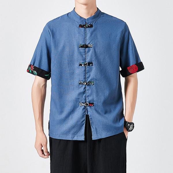 summer mens cotton linen shirt short sleeve shirts chinese style fashion man dress shirts 2019 male stand collar button clothing