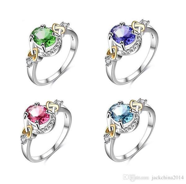 High quality Wholesale Luxury Jewelry 18k white Gold Filled Colorful Sapphire Emerald Aquamarine Gemstones Women Wedding Band Ring Gift