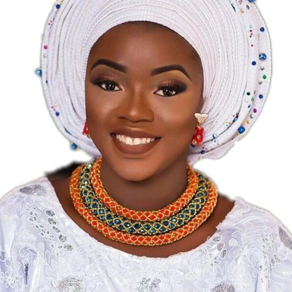 Mix Farbe Armband Ohrringe und Halskette Set Schichten Nigerianischen Hochzeitsschmuck Set Orange Dark Blue Gold Indian Dubai Perlen Set