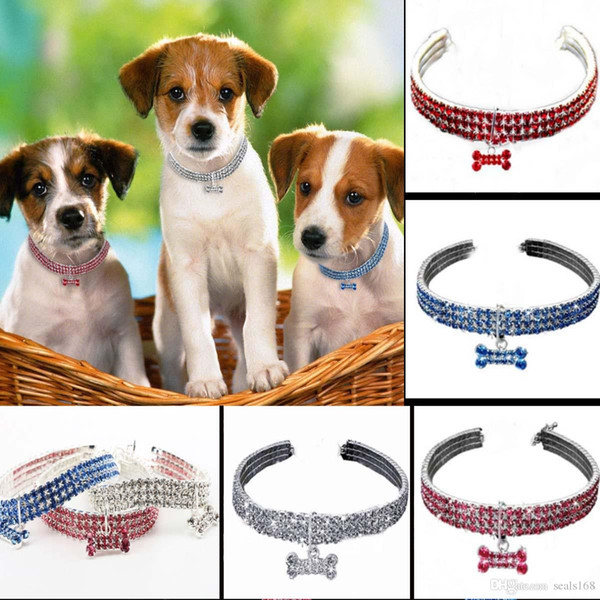 Crystal Rhinestone Pet Dog Cat Collar Bling Puppy Necklace Collars Leash For Dogs Mascotas Diamond Jewelry Christmas Gift HH9-2076