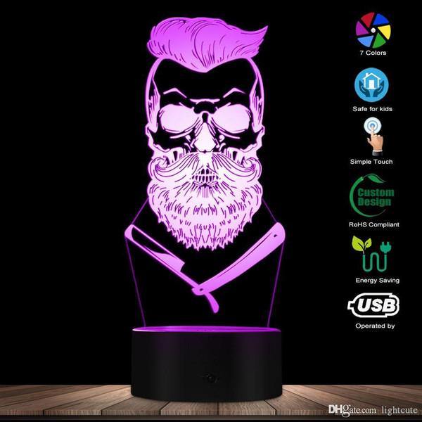 Barber Skull 3D illusion optique Lumière Hipster Skeleton Barber Shop Shave LED Night Light Mustache Skull Table visuelle Lampe signe