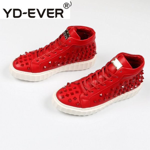Dandelion Skate Trainers Creepers Stud European Elevator Italian Mens Shoes Brands Runway Rivet Red Sneakers New High Top Spike