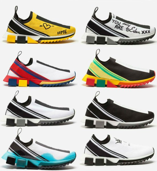 2019 Newest top quality Branded Men Rhinestones Fabric Stretch Jersey Sorrento Slip-on Sneaker Fashion Women Rubber Sole Casual Shoes