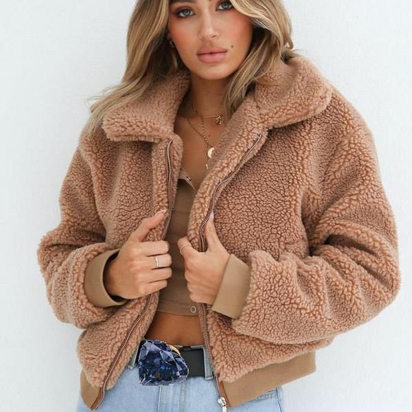 Новый медвежонок пальто с коротким пушистым мехом куртка женская S-XL размер осень зима 9CT006